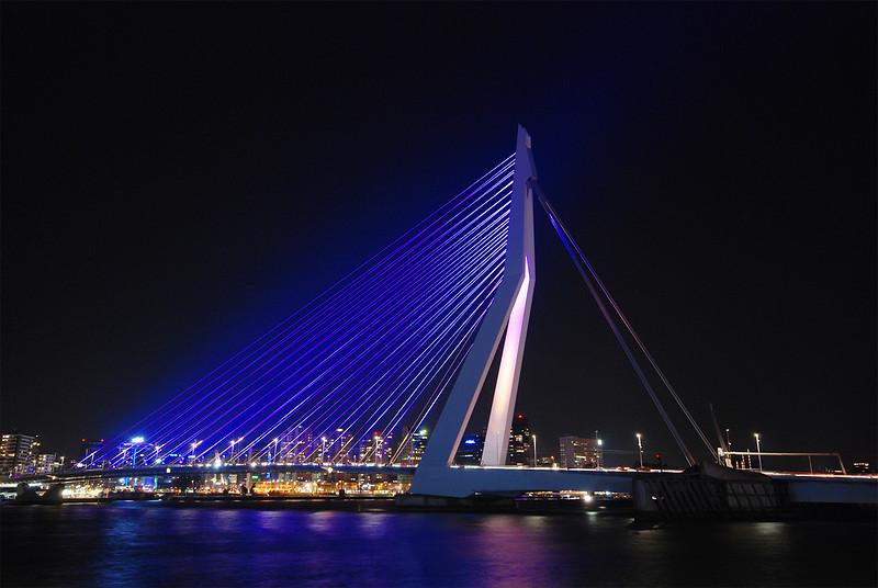Lighting of the Erasmus Bridge in Rotterdam, Netherlands