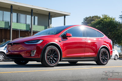 Model X - Red - Full Wrap with Delete and Black Wheels