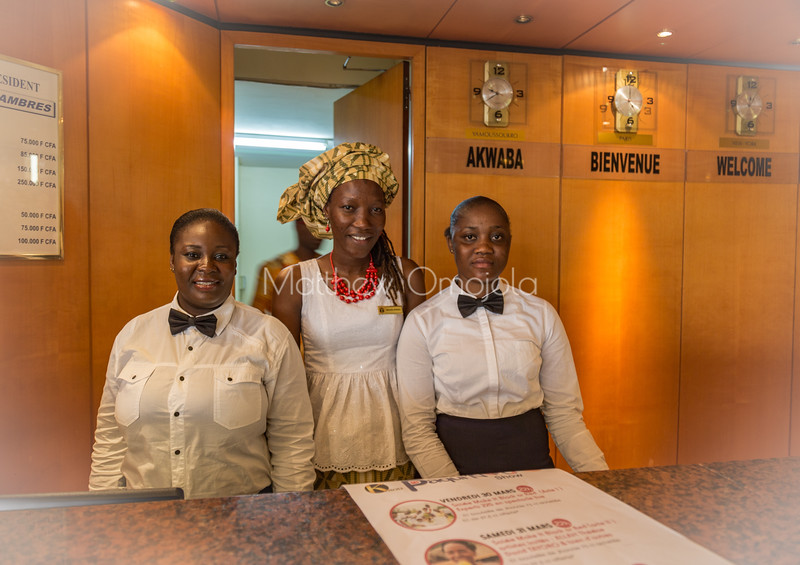 Beautiful hotel staff in Yamoussoukro Ivory Coast. They offer great service.
