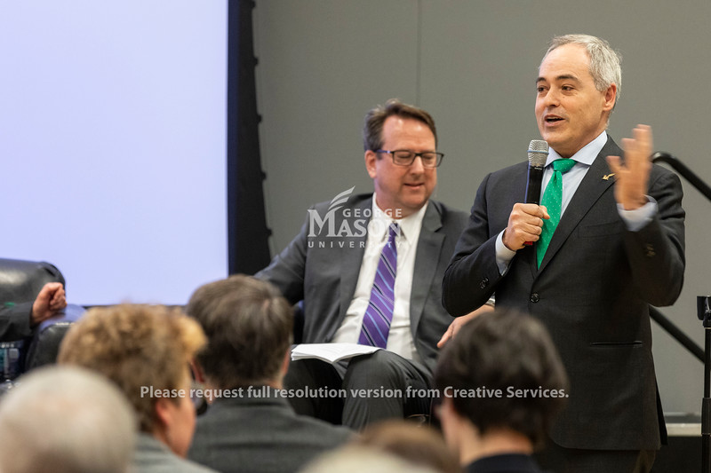 George Mason University president Dr. Ángel Cabrera speaks before a panel discussion about Amazon's selection of Arlington for a second headquarters held by the Metropolitan Washington Council of Governments hosted by George Mason.  Photo by Lathan Goumas/Strategic Communications