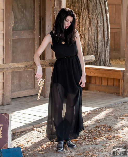 I Shot the Sheriff! Nikon D800E Photos Cowgirl Model Goddess in Black Dress! Black Hair & Blue Eyes Cowboy Boots & Gold 45 Revolver Gun!