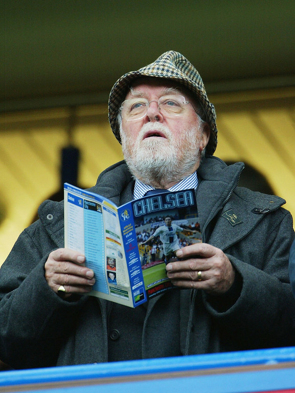. British Film Actor And Director Lord Richard Attenborough Dies Aged 90 LONDON - OCTOBER 25:   Actor Sir Richard Attenbrough watches from the stands during the FA Barclaycard Premiership match between Chelsea and Manchester City at Stamford Bridge on October 25, 2003 in London. (Photo by Phil Cole/Getty Images)