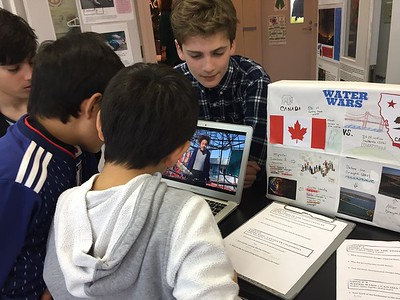 Gr. 4 students learn from Gr. 7