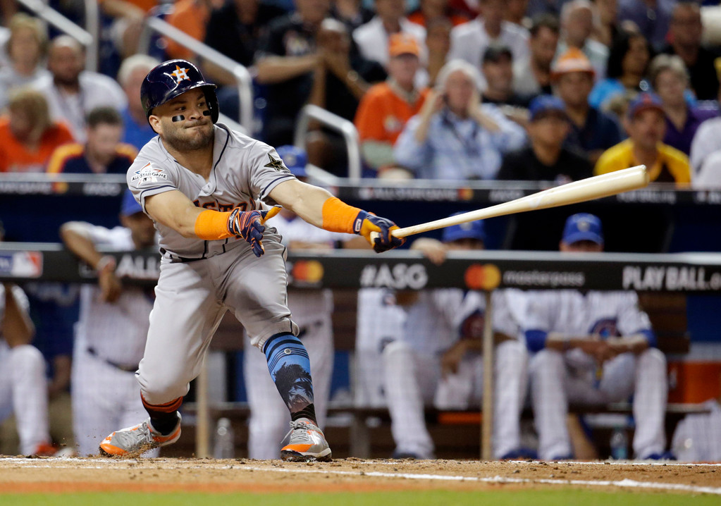 . American League\'s Houston Astros Jose Altuve (27), strikes out during the third inning at the MLB baseball All-Star Game, Tuesday, July 11, 2017, in Miami. (AP Photo/Lynne Sladky)