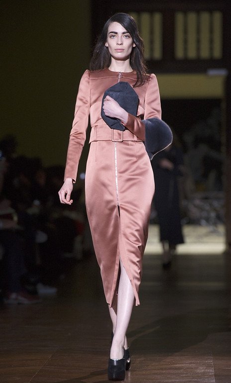 . A model wears a creation for Carven\'s ready-to-wear fall/winter 2014-2015 fashion collection presented in Paris, Thursday, Feb.27, 2014. (AP Photo/Zacharie Scheurer)
