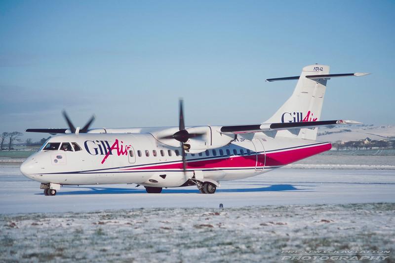 G-BVJP. ATR ATR-42-300. Gill Airways. Prestwick. January. 1996.