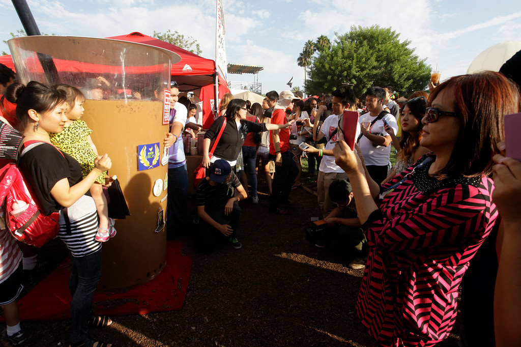 . The world\'s largest boba cup, at approximately 320 gallons, is unveiled at the 626 night market at Santa Anita Park in Arcadia, Saturday August 3, 2013. (SGVN/Correspondent Photo by Ron Fu/SVCITY)