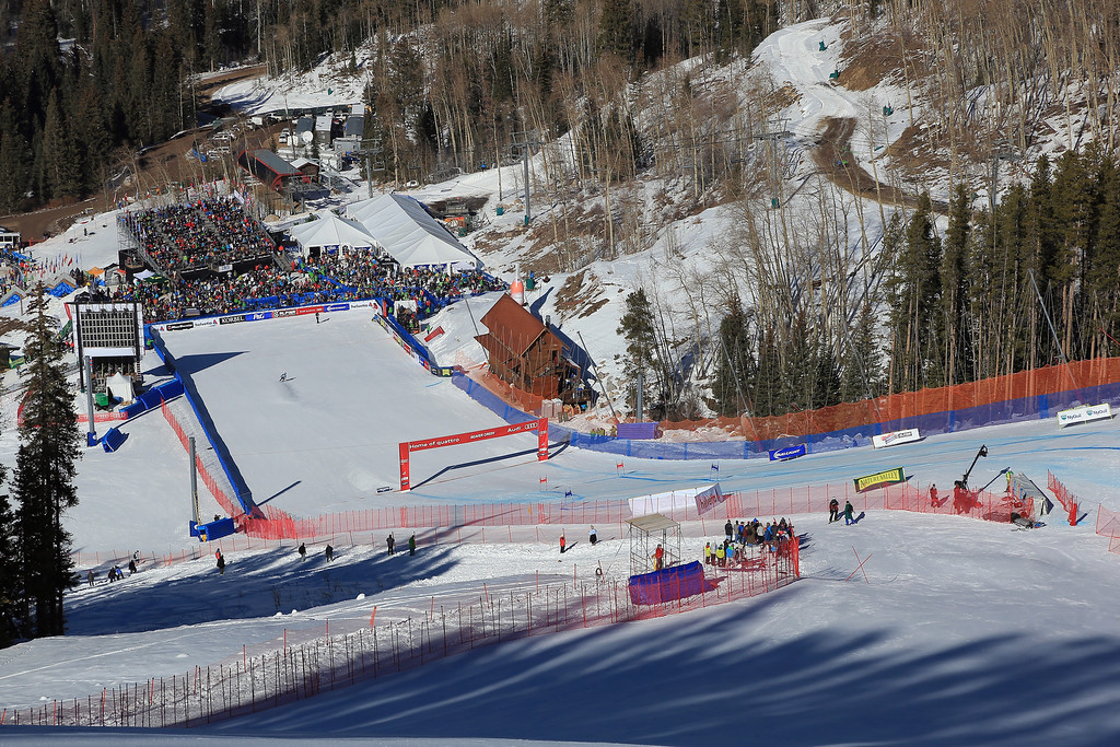 . A general view of the finish area during the ladies\' Super G on Raptor at the Audi FIS Ski World Cup at Beaver Creek on November 30, 2013 in Beaver Creek, Colorado. The venue will host the 2015 FIS World Championship.  (Photo by Doug Pensinger/Getty Images)