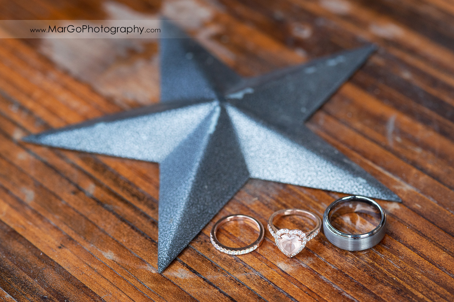 wedding rings with iron star at Long Branch Saloon & Farms in Half Moon Bay