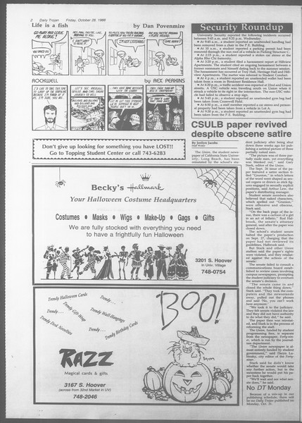 Daily Trojan, Vol. 107, No. 38, October 28, 1988