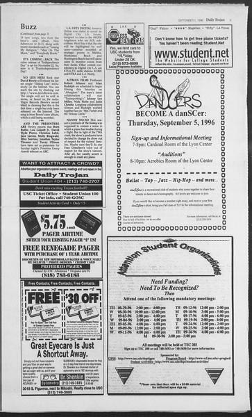 Daily Trojan, Vol. 129, No. 5, September 05, 1996