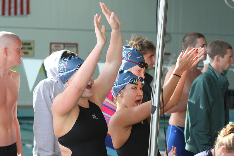 Santa Rosa swimmers cheering for teammate