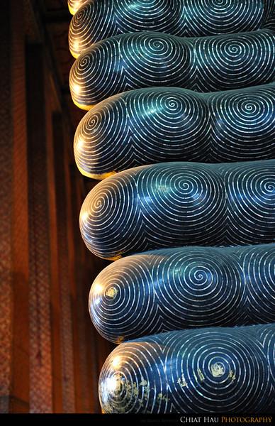 The feet of the sleeping Buddha