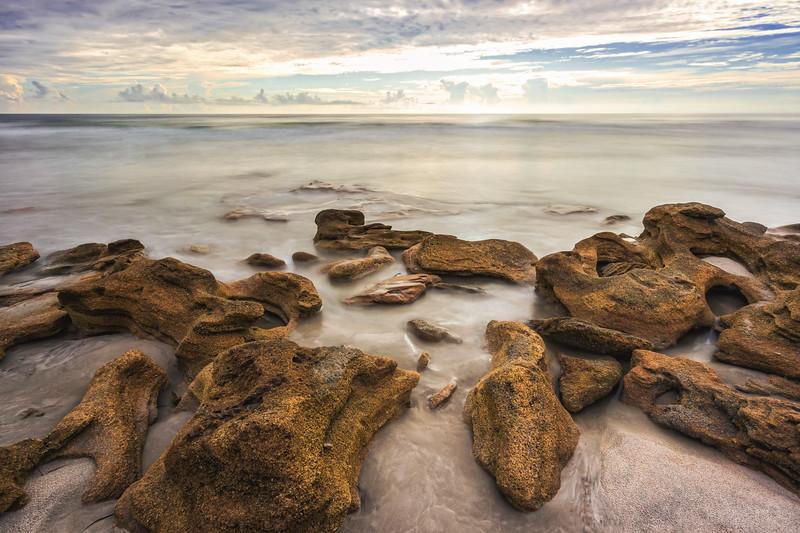 Coquina rocks and sunrise