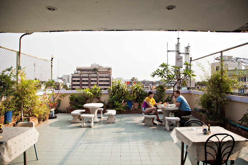 Rooftop dining.