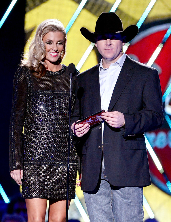 . Presenters Shada Brazile (L) and Trevor Brazile speak onstage during the 2013 American Country Awards at the Mandalay Bay Events Center on December 10, 2013 in Las Vegas, Nevada.  (Photo by Ethan Miller/Getty Images)