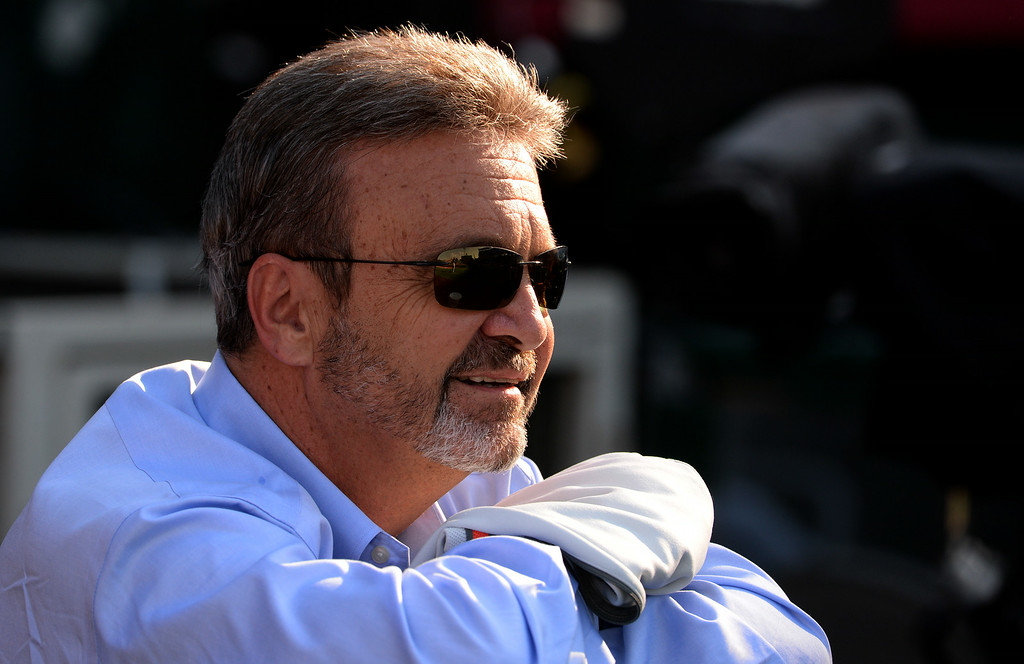 . Los Angeles Dodgers general manager Ned Colletti prior to a baseball game against the Los Angeles Angels at Anaheim Stadium in Anaheim, Calif., on Thursday, Aug. 7, 2014.  (Photo by Keith Birmingham/ Pasadena Star-News)