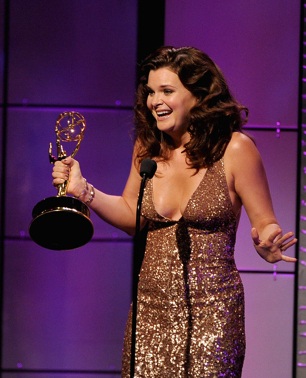 """. Actress Heather Tom accepts the Outstanding Lead Actress in a Drama Series award for \""""The Bold and the Beautiful\""""  onstage during The 40th Annual Daytime Emmy Awards at The Beverly Hilton Hotel on June 16, 2013 in Beverly Hills, California.  (Photo by Kevin Winter/Getty Images)"""
