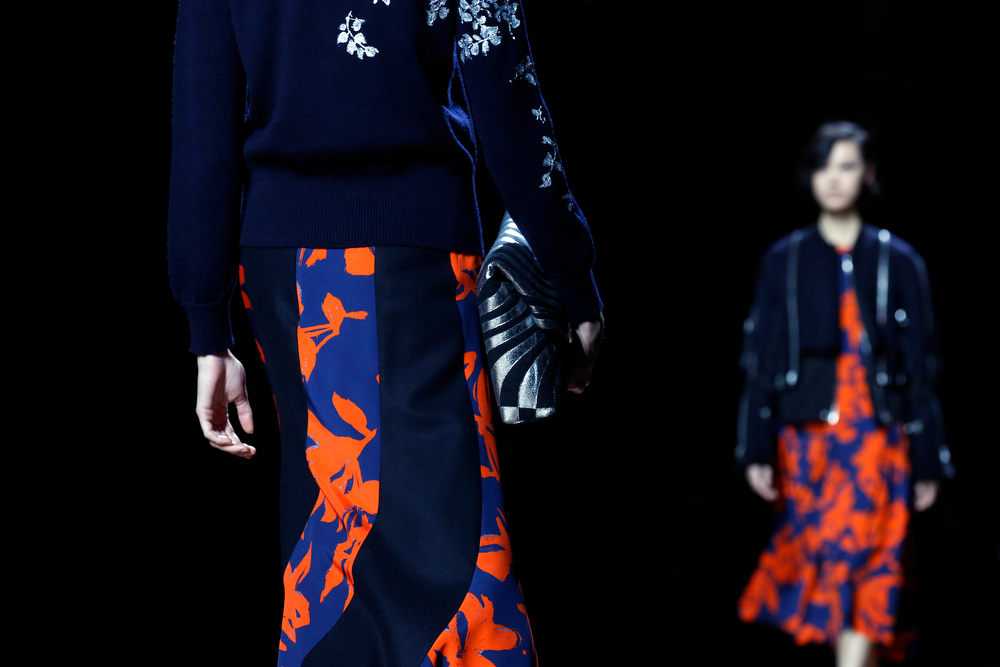 . A model wears a creation for Dries van Noten\'s ready-to-wear fall/winter 2014-2015 fashion collection presented in Paris, Wednesday, Feb.26, 2014. (AP Photo/Jerome Delay)