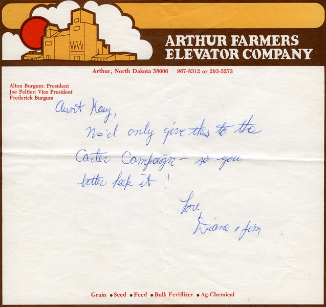 ARE028.  Note from Jim & Diane Kilbourne - Farmers Elevator .jpg