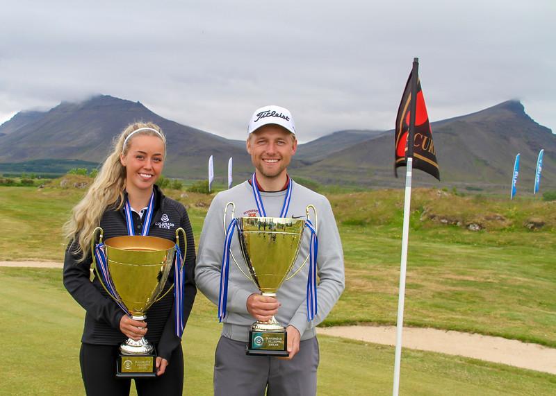 Saga Traustadóttir, GR, Rúnar Arnórsson, GK.   Mynd/seth@golf.is