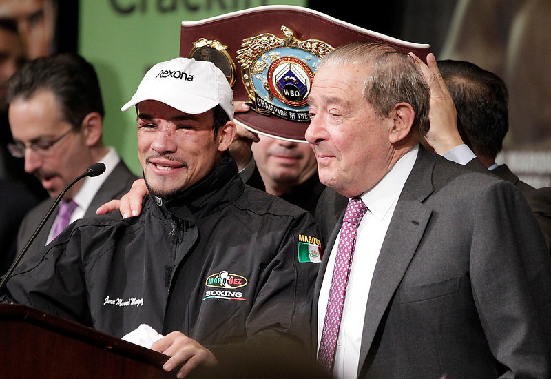 . Juan Marquez speaks during a press conference after his 6th round knockout victory over Manny Pacquiao, Saturday, Dec. 8, 2012, at The MGM Grand Garden Arena in Las Vegas. (AP Photo/Eric Jamison)