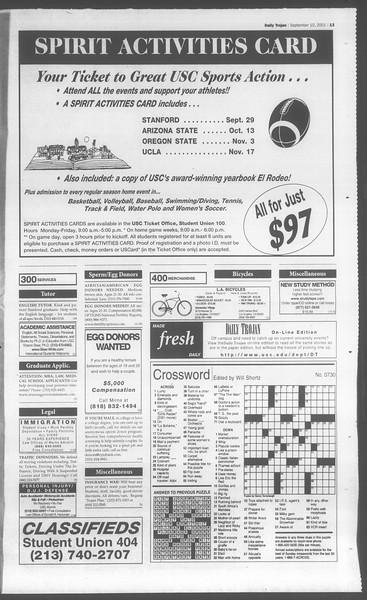 Daily Trojan, Vol. 144, No. 8, September 10, 2001