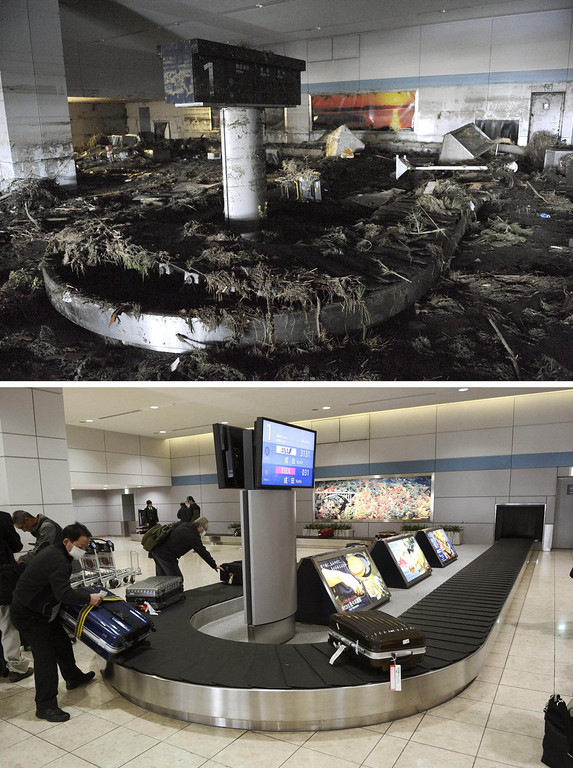 . This combination photo taken March 17, 2011, top, and Thursday, Feb. 28, 2013, shows the luggage claim area at Sendai Airport in Natori, Miyagi prefecture. March 11, 2013 is the 2-year anniversary of the earthquake and tsunami which devastated the northeastern Pacific coast of Japan. The airport resumed operation only about one month after the tsunami and functioned as the major base of the rescue operation. (AP Photo/Kyodo News)