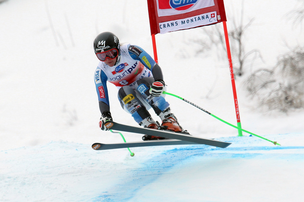 . Stacey Cook of the USA competes during the Audi FIS Alpine Ski World Cup Women\'s Downhill on March 02, 2014 in Crans-Montana, Switzerland. (Photo by Christophe Pallot/Agence Zoom/Getty Images)