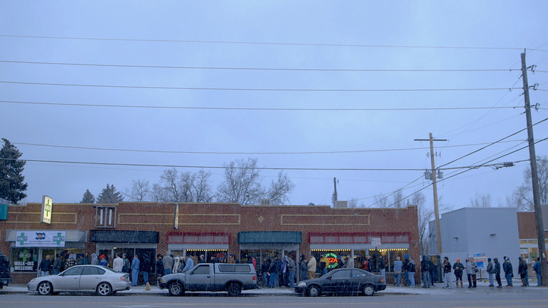 . People waiting in line for Citi-Med in Denver to open, on  Jan. 1, 2014, the first day of recreational marijuana sales. (Courtesy of Zachary Armstrong)
