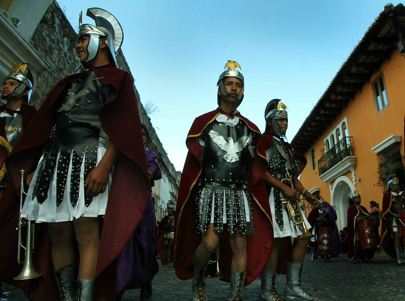 Roman soldiers move through the streets of Antigua, Guatemala as part of a Lent procession on February 17, 2013. Photo by Scott Umstattd