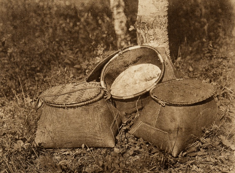 Birchbark baskets - Cree (The North American Indian, v. XVIII. Norwood, MA, The Plimpton Press,  1928)