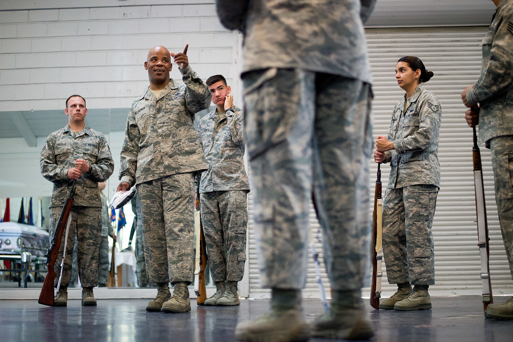 . Master Sgt. Darryl Willingham trains color rifle movements with the Blue Eagles Honor Guard at March Air Reserve Base in Riverside, Calif. on Tuesday, May 12, 2015. (Photo by Watchara Phomicinda/ Los Angeles Daily News)