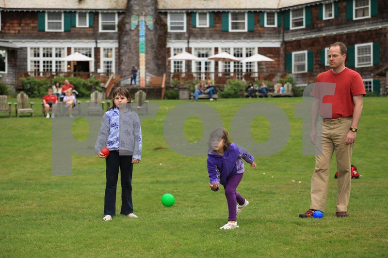 Lake Quinault Lodge 9984:  On the front lawn of the Lake Quinault Lodge near Amanda Park, WA a family enjoys a game of boccie ball.