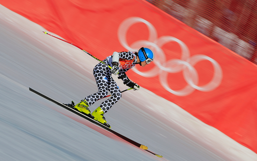 . Argentina\'s Macarena Simari Birkner competes during the Women\'s Alpine Skiing Super-G at the Rosa Khutor Alpine Center during the Sochi Winter Olympics on February 15, 2014.  (ALEXANDER KLEIN/AFP/Getty Images)
