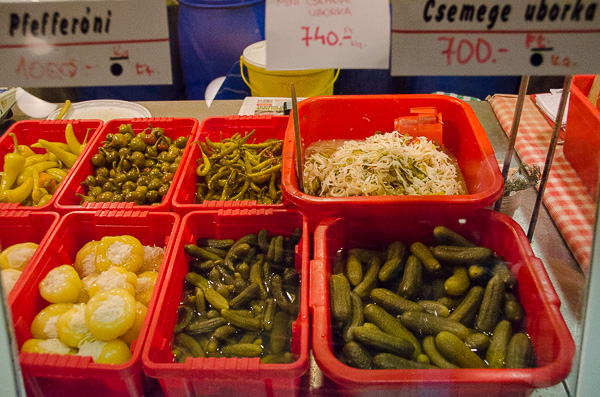 A pickle vendor at Budapest's Great Market Hall