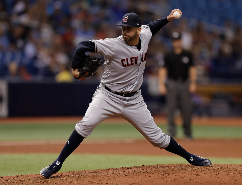 . Cleveland Indians pitcher Oliver Perez during the fifth inning of a baseball game against the Tampa Bay Rays Monday, Sept. 10, 2018, in St. Petersburg, Fla. (AP Photo/Chris O\'Meara)