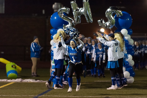 11/19/18 Wesley Bunnell | Staff Southington powder puff football vs Rocky Hill on Monday night at Southington High School. Anna Laone (1).