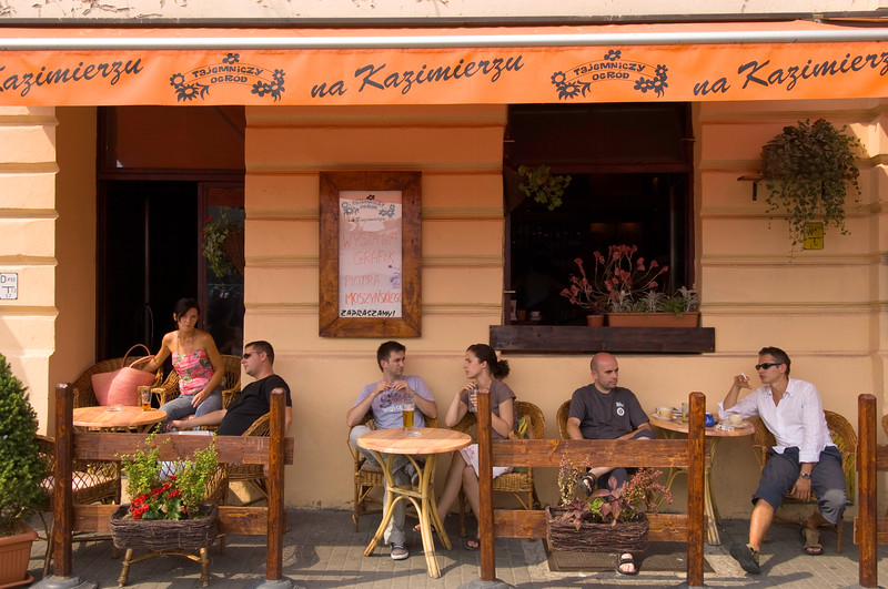 Poland, Cracow, Kazimierz, cafe-bar on Plac Nowy