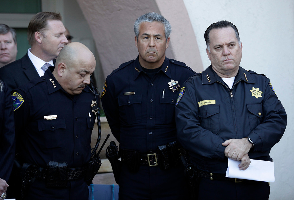 ". Watsonville Police Chief, Manny Solano, Capitola Police Chief, Rudy Escalante and Santa Cruz Police Chief, Kevin Vogel appear at a press conference for slain Santa Cruz police officers, detective Sgt. Loran ""Butch\"" Baker and detective Elizabeth Butler in front of the police department in Santa Cruz, Calif. on Wednesday, Feb. 27, 2013. The pair were gunned down yesterday while investigating a possible domestic violence or sexual assault when a suspect fired at them. The gunman, Jeremy Peter Goulet, was later gunned down when he exchanged gunfire with police during a manhunt. (Gary Reyes/ Staff)"