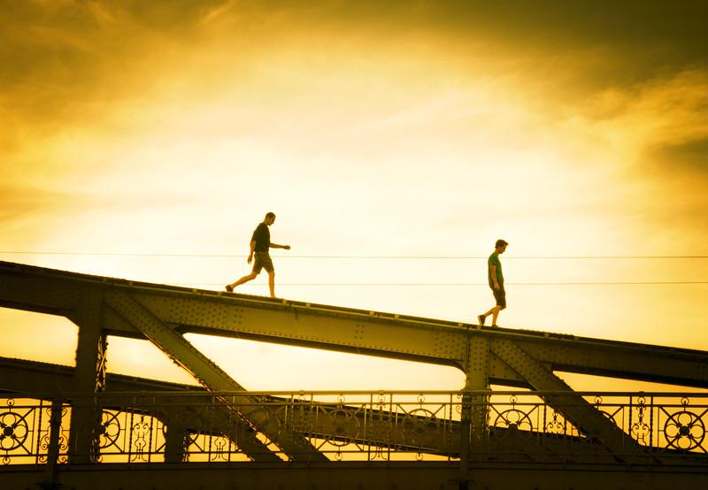 Walking along the bridge in Sydney