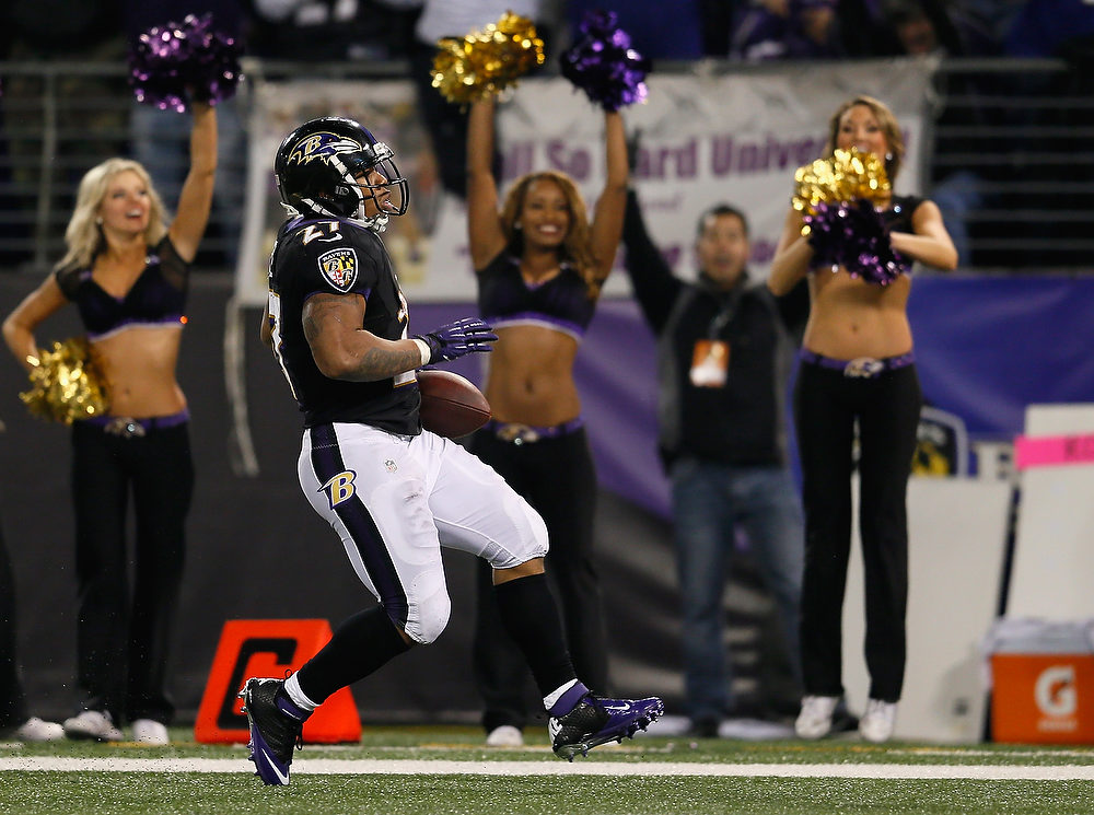 . Running back Ray Rice #27 of the Baltimore Ravens scores a fourth quarter touchdown against the Pittsburgh Steelers at M&T Bank Stadium on December 2, 2012 in Baltimore, Maryland.  (Photo by Rob Carr/Getty Images)