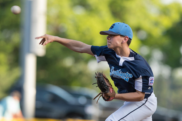 07/08/19 Wesley Bunnell | Staff Forrestville vs Southington North Little League baseball at Recreation Park in Southington on Monday July 8, 2019. Pitcher Aiden Halpin (8).
