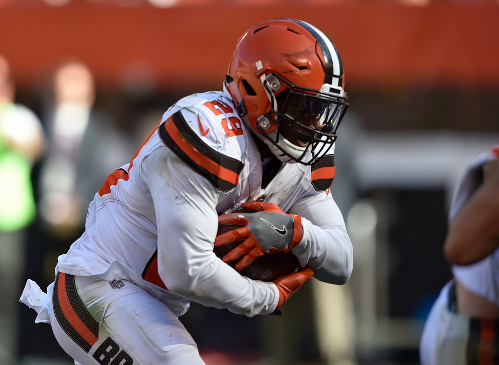 . Cleveland Browns running back Duke Johnson runs in for a one-yard touchdown in the second half of an NFL football game against the Cincinnati Bengals, Sunday, Oct. 1, 2017, in Cleveland. The Bengals won 31-7. (AP Photo/David Richard)
