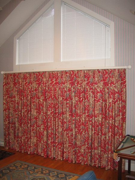 Angle Top Micro blinds & B/O draperies on Decorative Pole