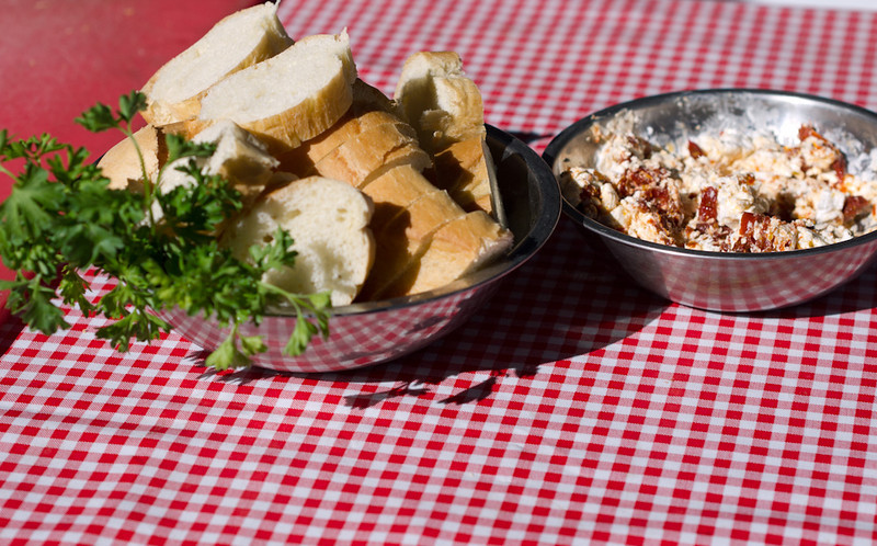 Snack time Goat cheese and sun dried tomatoes make a fine appetizer.