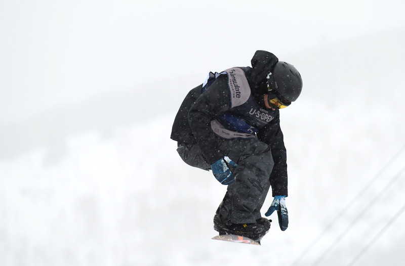 . Tyler Nicholson of Canada is in action during the men\'s slope style final of the Burton U.S. Open. Vail, Colorado. March 7. 2014. (Photo by Hyoung Chang/The Denver Post)