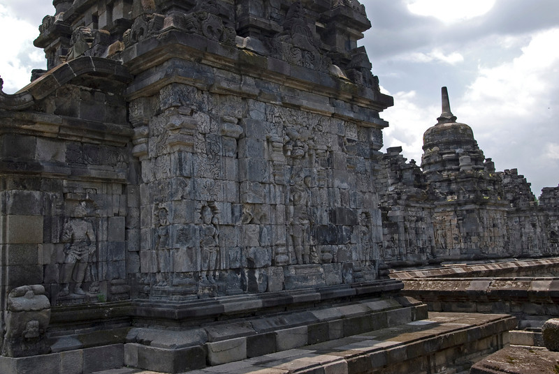 Relief at the Sewu temple inside Prambanan in Indonesia