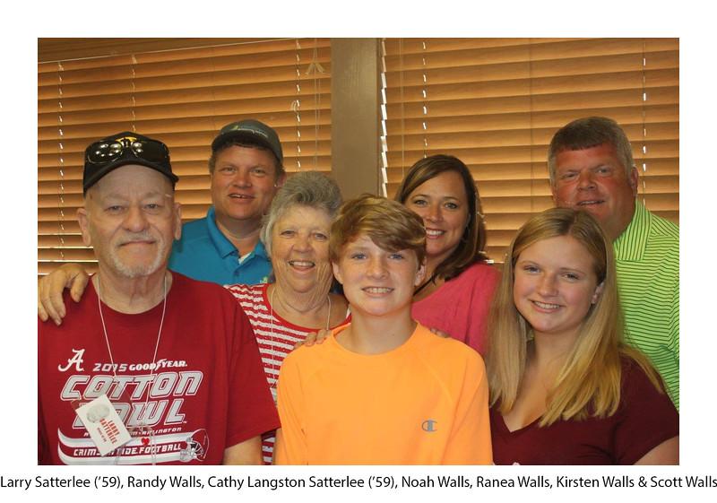 Larry Satterlee '59, Randy Walls, Cathy Langston Satterlee, Noah Walls, Ranea Walls, Kirsten Walls, Scott Walls.jpg