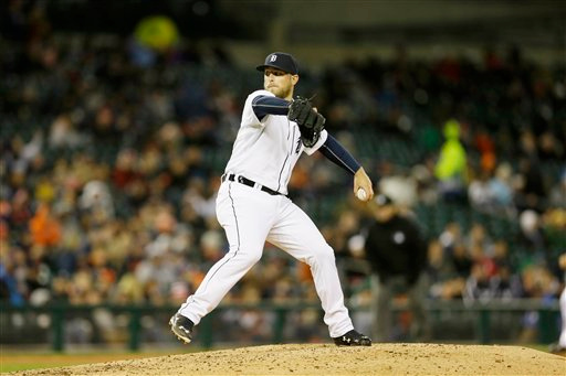 . Detroit Tigers relief pitcher Ian Krol throws during the seventh inning of a baseball game against the New York Yankees, Tuesday, April 21, 2015, in Detroit. (AP Photo/Carlos Osorio)